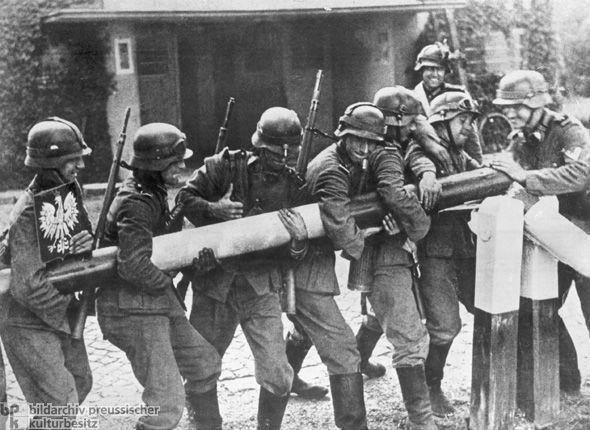 German Troops Dismantling a Polish Border Post on September 1, 1939