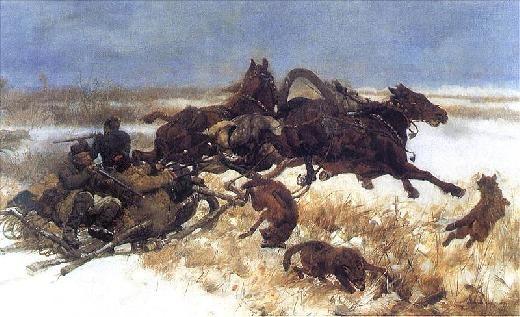 Józef Chełmoński | Napad wilków / Attack of wolves, 1883, oil on canvas, 55 x 80 cm. Muzeum Wojska Polskiego w Warszawie