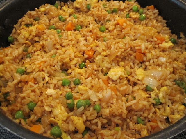 fried rice-- 3 cups cooked white rice  3 tbs sesame oil  1 cup frozen peas and carrots (thawed)  1 small onion, chopped  2 tsp minced garlic  2 eggs, slightly beaten  1/4 cup soy sauce            on medium high heat, heat the oil in a large skillet or wok.  add the peas/carrots mix, onion and garlic. stir fry until tender. lower the heat to medium low and push the mixture off to one side, then pour your eggs on the other side of skillet and stir fry until scrambled. now add the rice and soy…