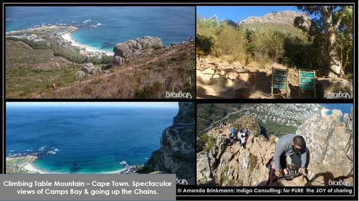 Hiking the Table Mountain Trail, #capetown - SPECTACULAR views onto Camps Bay. Clambering up the chains. Must do!