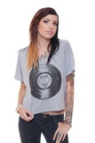 Me wanty!       Heather grey, flowy cropped tee, with soft, black vintage record print on front. 65% Poly, 35% Viscose. Printed in the USA. Wash cold, hang dry.