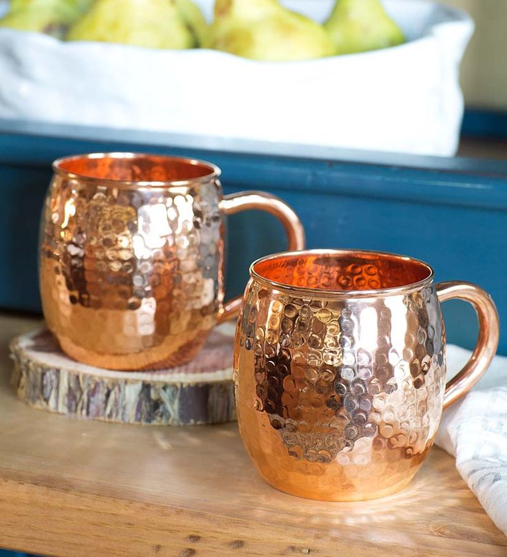 Hand Hammered Solid Copper Mugs, Set of 2 - great for serving the Moscow Mule cocktail