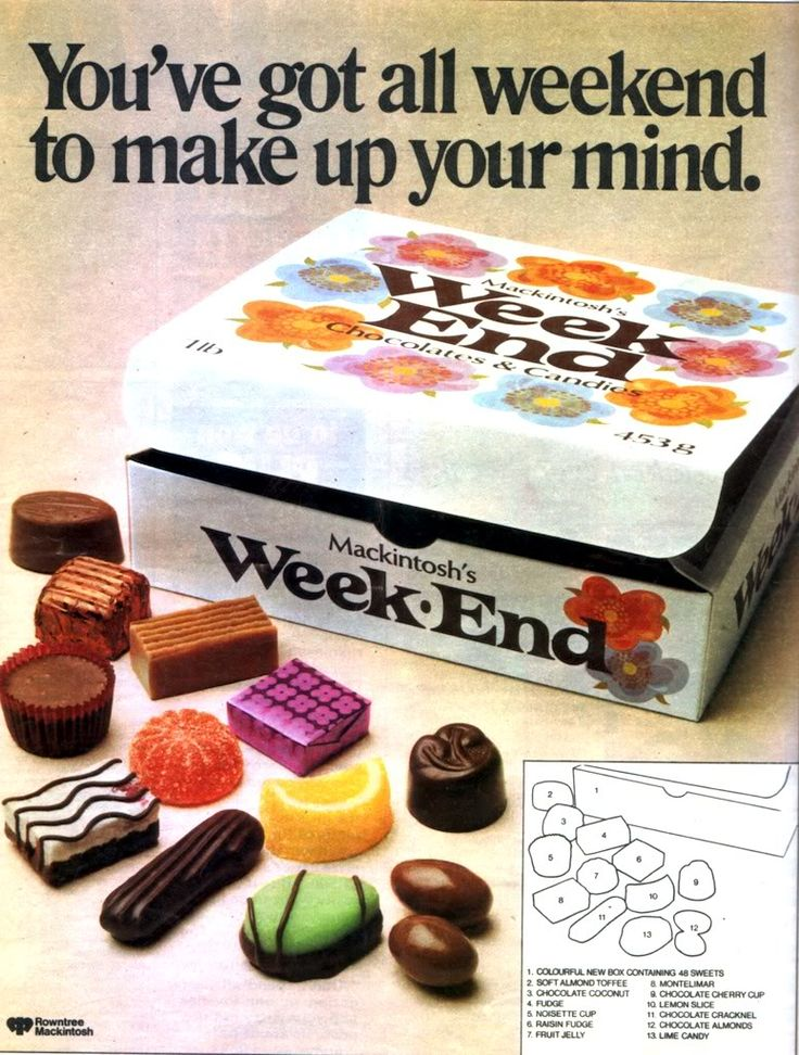 Weekend chocolates - my nan always brought these and I really hated the green one yuk. Thinking about it the others were awful as well lol
