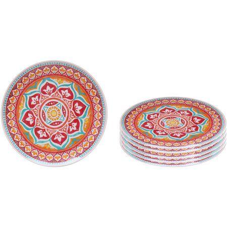 Better Homes and Gardens Melamine Medallion Dinner Plate 6pk, Red