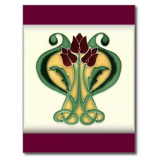 art nouveau rose tile postcard art nouveau post cards. Black Bedroom Furniture Sets. Home Design Ideas
