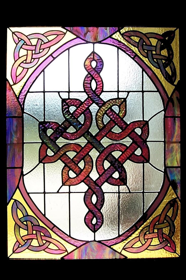 Beach theme decoration stained glass window panels arts crafts - Celtic Knot Panel The Colors