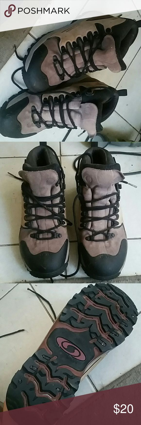 Salomon winter boots Size 9 in women's, super durable winter outdoor boots. Black and purplish suede. Messy but not worn out. Salomon Shoes Winter & Rain Boots
