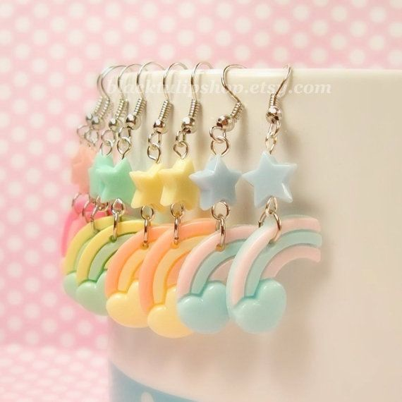 Kawaii Lolita Fairy Kei Pastel Star Heart Rainbow Earrings - You Choose