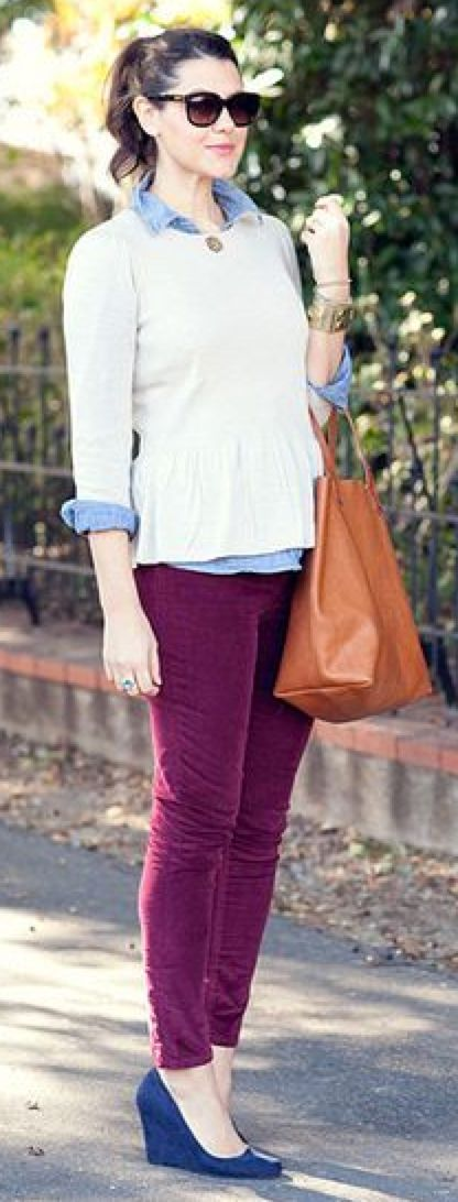 Outfit Posts: outfit post: beige slub sweater, light chambray shirt, purple cropped pants, burgundy pointed toe pumps