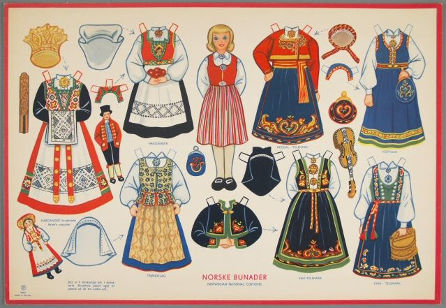 Norske Bunader (Norwegian National Costumes)    paper doll ca. 1950  National Museum of Play   Object ID	77.4199
