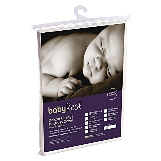 Prolong the life of your change pad with the Deluxe Change Mattress Terry Towelling Cover from babyRest, made from terry towelling for natural cosiness and absorbency.