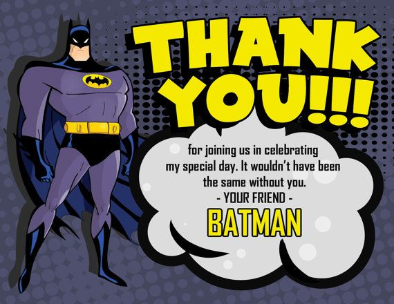 Batman Thank You Card By WestOnDesignSt On Etsy Etsy