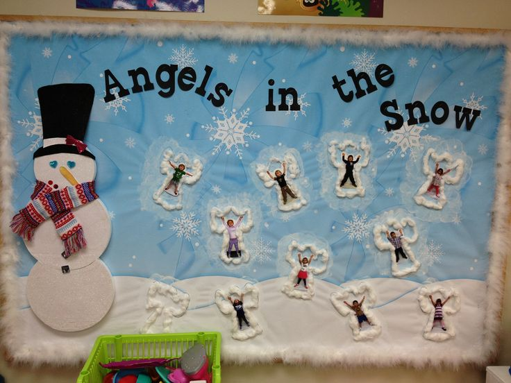 Snow Angels - Winter Bulletin Board idea makes me smile