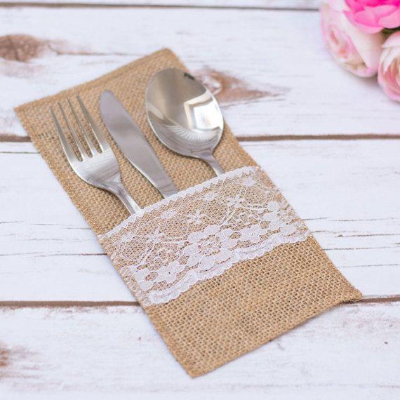 Toile de jute argenterie titulaire mariage rustique Table