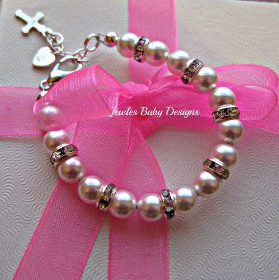 Infant SWAROVSKI Baby bracelet Gift set for by JewlesDesigns, $26.00