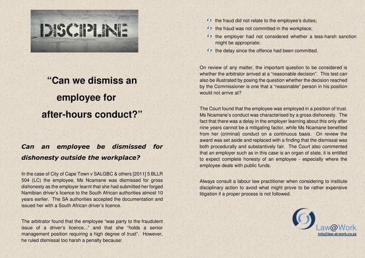 Discipline for after-hour conduct https://www.facebook.com/lawatwork?fref=ts