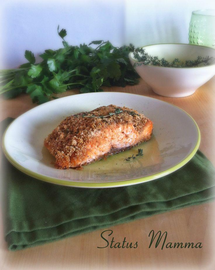 Filetto di Salmone gratinato in forno ricetta semplice aromi Statusmamma Giallozafferano bloggerGz blog foto tutorial ricetta cucinare Natale in crosta alle erbe Timo