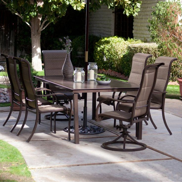 Outdoor Coral Coast Del Rey Deluxe Padded Sling Aluminum Table Patio Dining Set - Seats 6 - TTLC436