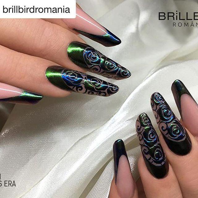 #Repost @brillbirdromania (@get_repost)  ・・・  #chrome #pigment #scarabeus #velvetblue #nailart #KovacsEra #nails2inspire #brillbirdromania #ilovenails #nailsoftheday #nailstagram