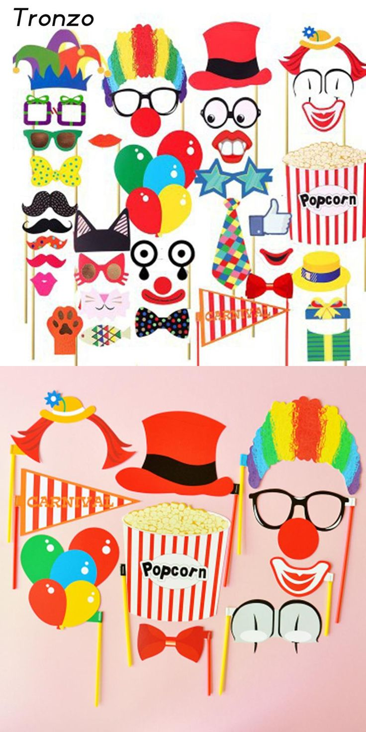 [Visit to Buy] Tronzo 36Pcs Clown Photo Booth Props Birthday Decor DIY Funny Circus Wedding Photobooth Party Decoration #Advertisement