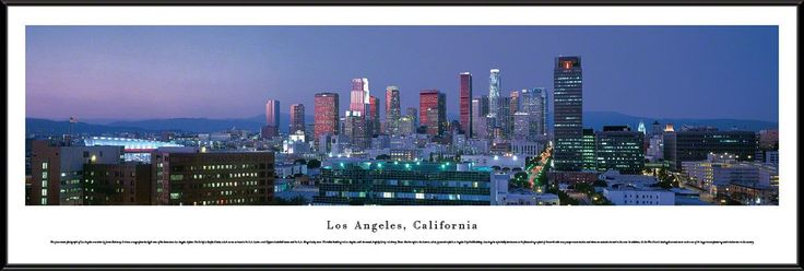 Los Angeles Skyline Panoramic Picture Framed, California-Series 2