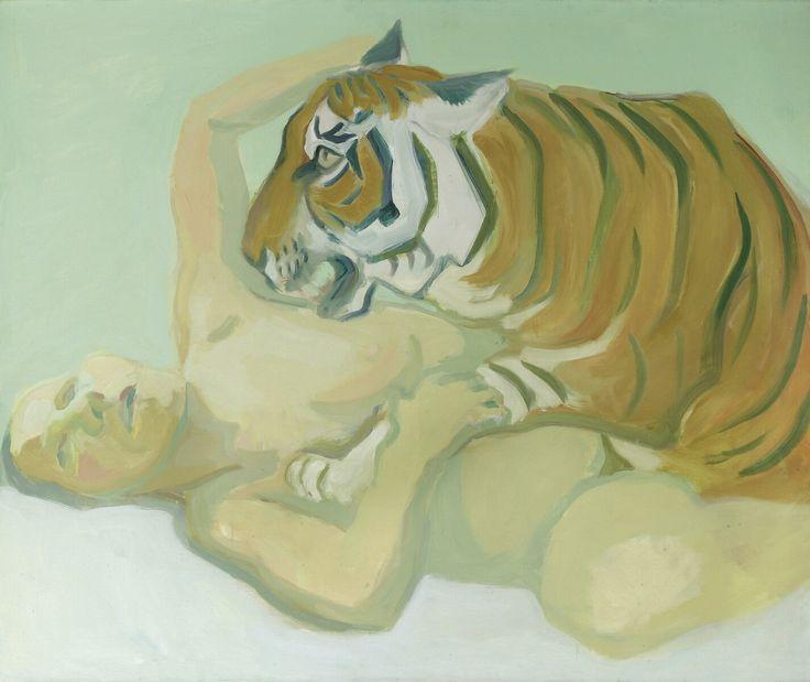Maria Lassnig. Mit einem Tiger schlafen 1975