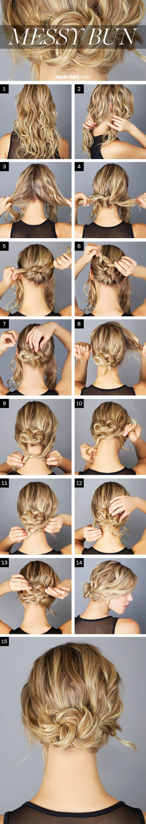 Hair How-To: The Messy Bun I see this requires bobby pins. We'll see how that turns out.