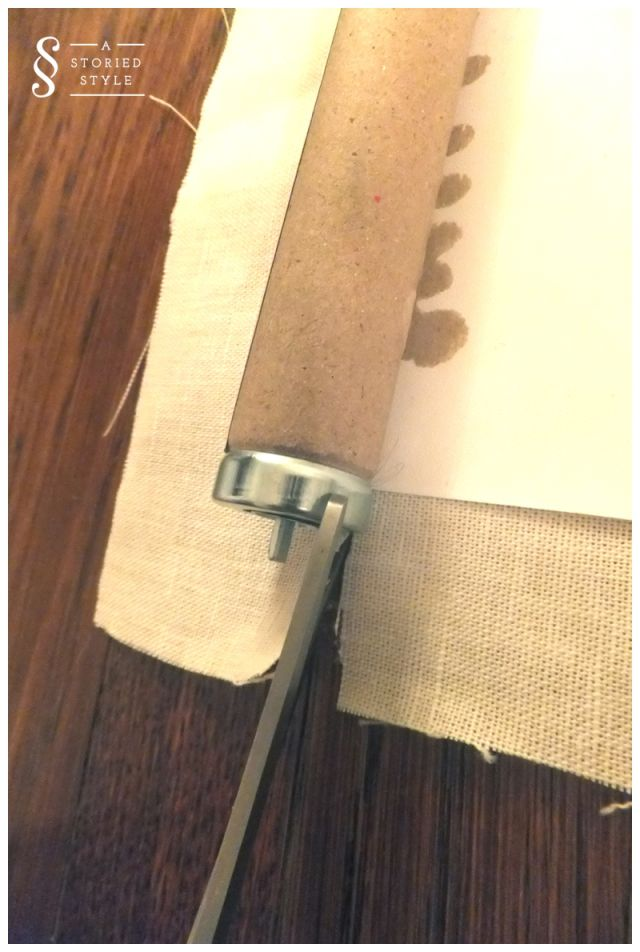 AStoriedStyle.com -- upholstered roller shade - do this in burlap or similar