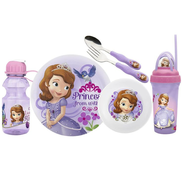 Sofia the First Disney Princess Dinnerware plate bowl spoon fork bottle water travel tumbler with straw  sc 1 st  Pinterest & 21 best Kids dishes set images on Pinterest | Disney cups Sofia the ...