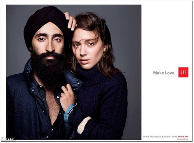 """Earlier this year, as part of its """"Make Love"""" ad campaign, Gap released this poster featuring Sikh model Waris Ahluwalia."""