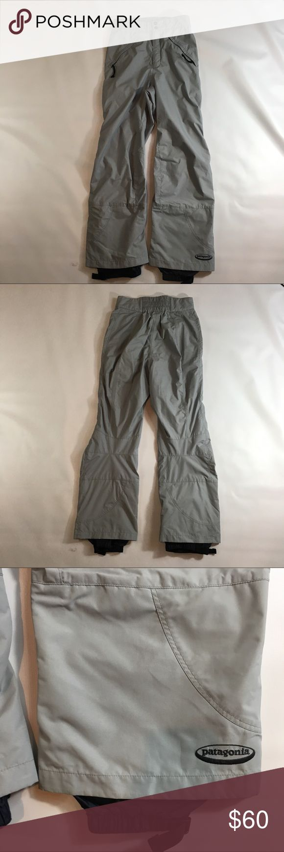 """Patagonia Women's 8 gray snow ski pants Nylon Patagonia womens 8 fully lined but uninsulated ski pants.  shell is 100% nylon and lining is 100% nylon. The mesh lining is 100% polyester. bottom cuffs have inside adjustable snow cuffs.  In excellent condition, these are an older model but have hardly any wear, one super small knock to the fabric by the cuff (see closeup) otherwise you would think they were new  29.5"""" inseam (snow cuff extends a little more) 13"""" front rise (higher rise) 14""""…"""