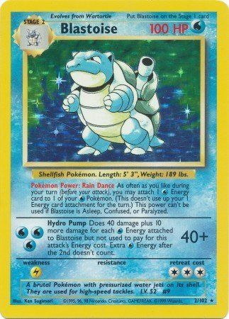 Pokemon - Blastoise (2/102) - Base Set - Holo:   In the Pokemon Trading Card Game, players build decks around their favorite Pokemon and then play against each other, sending their Pokemon into battle to prove who the best Pokemon Trainer is. Players can begin with theme decks - pre-constructed decks designed to cover the basics of the game. Then, they can augment their card collections with booster packs that provide more cards, letting players develop more diverse decks. With thousan...