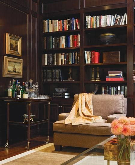 """My grandparents had a """"study,"""" which they spent a lot of time in, and it definitely had a bar. My house one day will have one too - who wouldn't want one when that chair looks so cozy. I have one of the ottoman's from my grandparents study so the chair I have must coordinate with it."""
