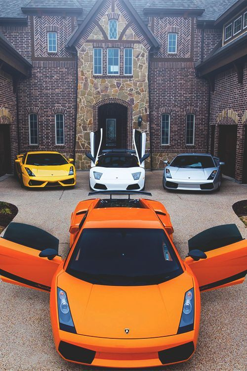 Orange Gallardo, silver Gallardo, white Murcielago, yellow Aventador