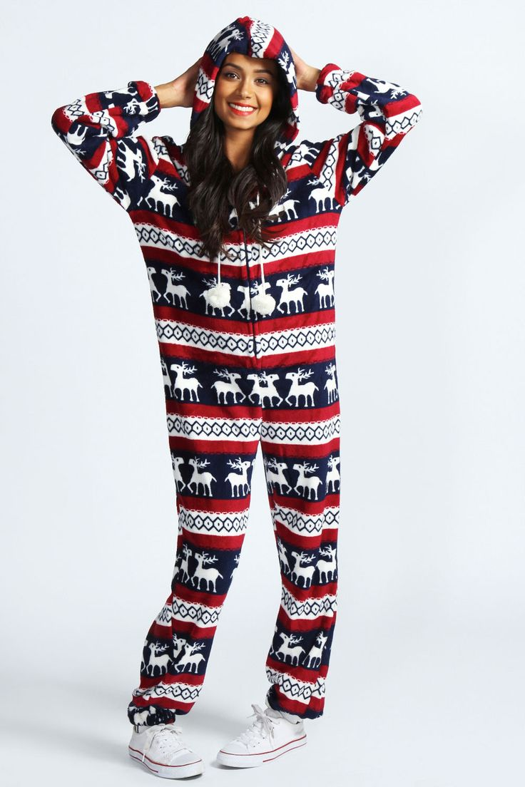 Reindeer Print Pom Pom Onesie >> http://www.boohoo.com/restofworld/gifts/gifts-for-her/icat/new-in/rosie-reindeer-stripe-print-pom-pom-onesie/invt/azz43822