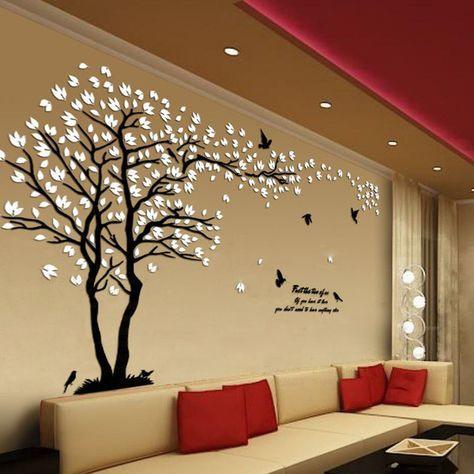 1 Folha Branca Amantes Árvore Removíveis Adesivos de Parede de Acrílico Adesivos De Parede 3D Sala de estar Decoração 31824