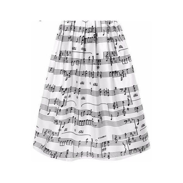 'Neo-Soul' High Waist Music Notes Skirts ($35) ❤ liked on Polyvore featuring skirts, white knee length skirt, high waisted skirts, high-waisted skirt, high rise skirts and white high waisted skirt