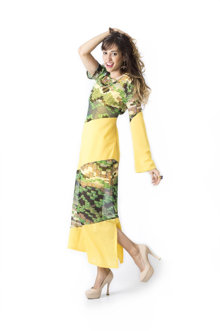 Bosque Paraíso Collection REF:VE0028 SIZE: XS-1W Material: Silk chiffon- polyester 97/3 Colors: yellow, red, brown.