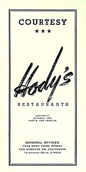 Employee Courtesy Booklet, Hody's Restaurants 1953: Restaurants 1953, Courtesy Booklet, Employee Courtesy, Hody S Restaurants