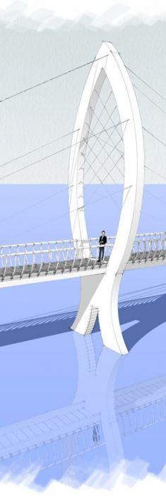 Pedestrian bridge, architecture by Artlandia
