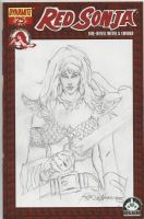 Red Sonja 25 Sketch Cover by Rudy Nebres Comic Art