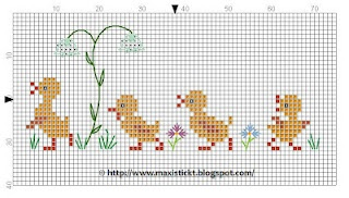 Cross Stitching Ducks freebie chart / Kreuzstich Enten Küken