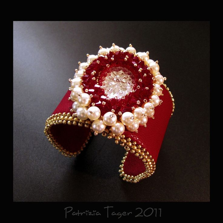 Bloody Mary  Red Cream and Gold  Leather Cuff Bead by triz on Etsy, $129.00