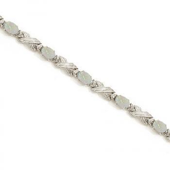 Opal & Diamond XOXO Link Bracelet in 14k White Gold (6.65ct)    allurez.com