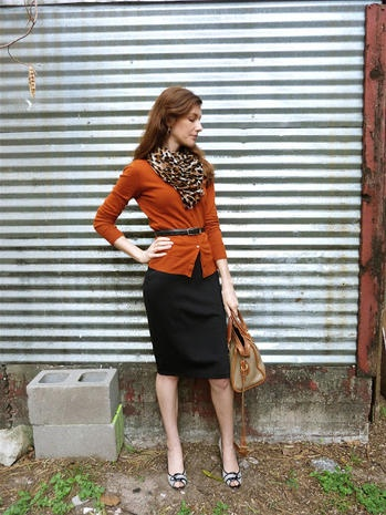 Leopard Scarf,  Cardigan, Black Pencil Skirt, Thin Belt and Sandals or Flats...Imagine the possibilities!