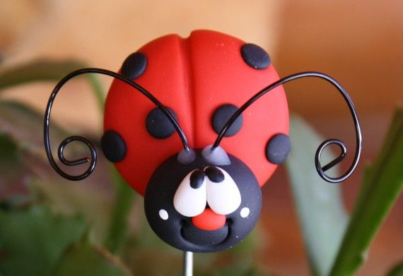 Polymer Clay Pot Garden Stake LADY BUG by ClayCutiesbySabrina