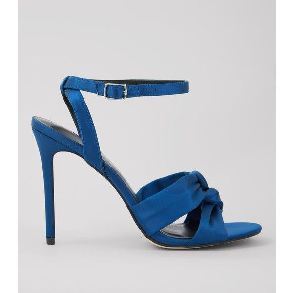 New Look Navy Satin Knot Strap Heeled Sandals (£30) ❤ liked on Polyvore featuring shoes, sandals, navy, navy heeled sandals, navy blue sandals, strap heel sandals, high heel stilettos and strappy heeled sandals