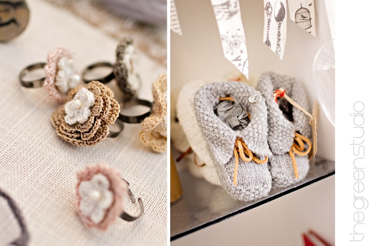 Beautiful crochet rings and knitted booties photographed at KAMERS Bloemfontein by @Ria Green via @The Pretty Blog