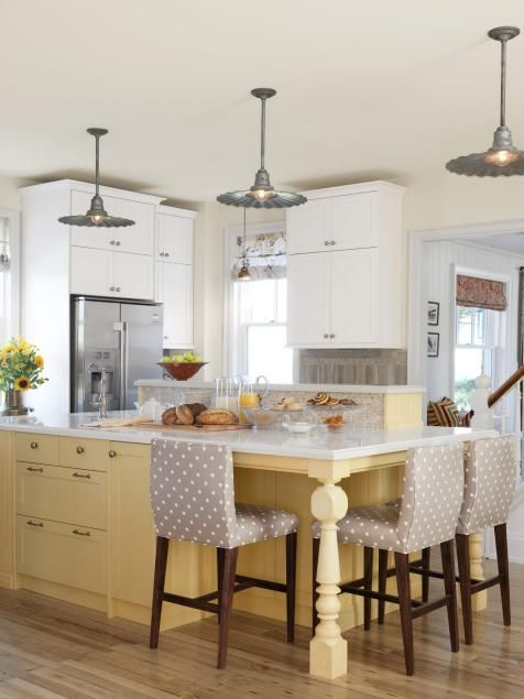 Love the fabric on the chairs | Kitchen Design Tips From HGTV's Sarah Richardson | Kitchen Ideas & Design with Cabinets, Islands, Backsplashes | HGTV