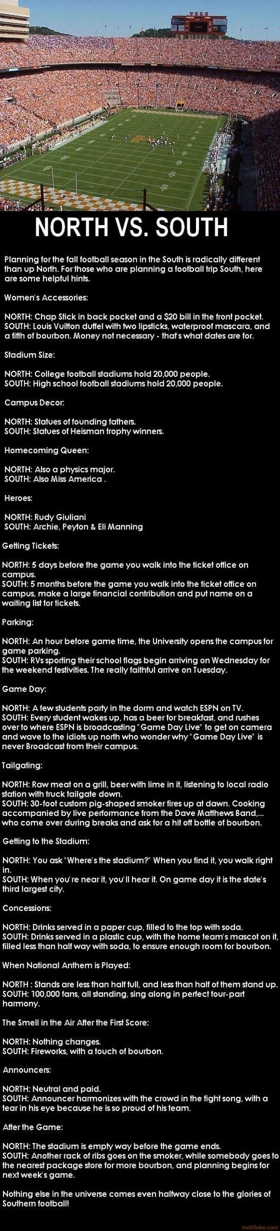 I don't personally know what it's like in the north but this is spot on for UF, FSU and UCF!